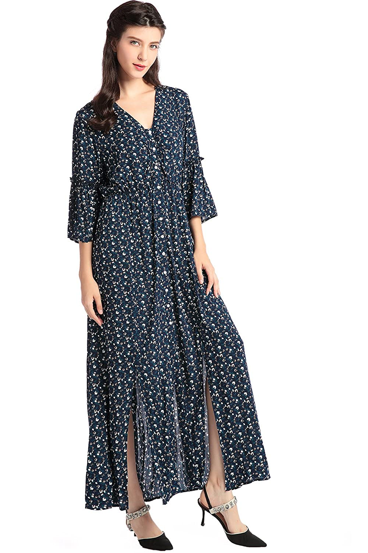 Baya Womens Boho style V Neck Maxi long dress Puff Sleeve dress Floral Print Vintage vestidos de fiesta at Amazon Womens Clothing store:
