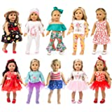 ZQDOLL 19 pcs Girl Doll Clothes Gift for American 18 inch Doll Clothes and Accessories, Including 10 Complete Sets of…