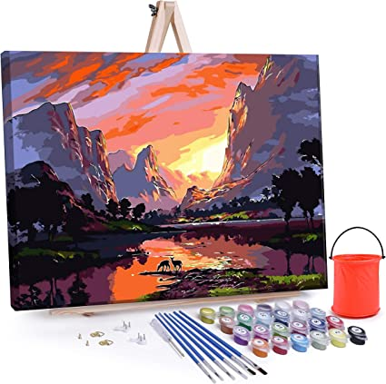 Paint by Numbers for Adults Oil Painting DIY Kits on Canvas for Beginners,