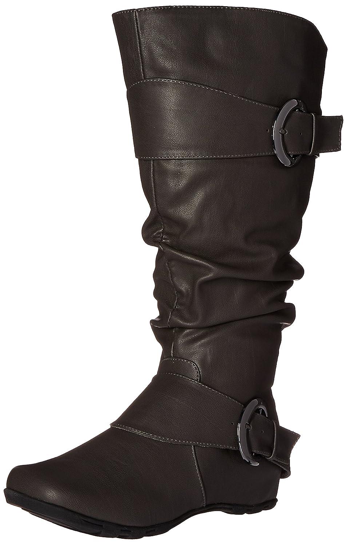 Brinley Co Women's Hilton-xwc Slouch Boot B018HEJ07O 7 B(M) US|Grey Extra Wide Calf