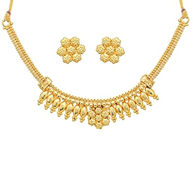 Buy Meenaz Copper Design Traditional Pearl One Gram Gold Necklace