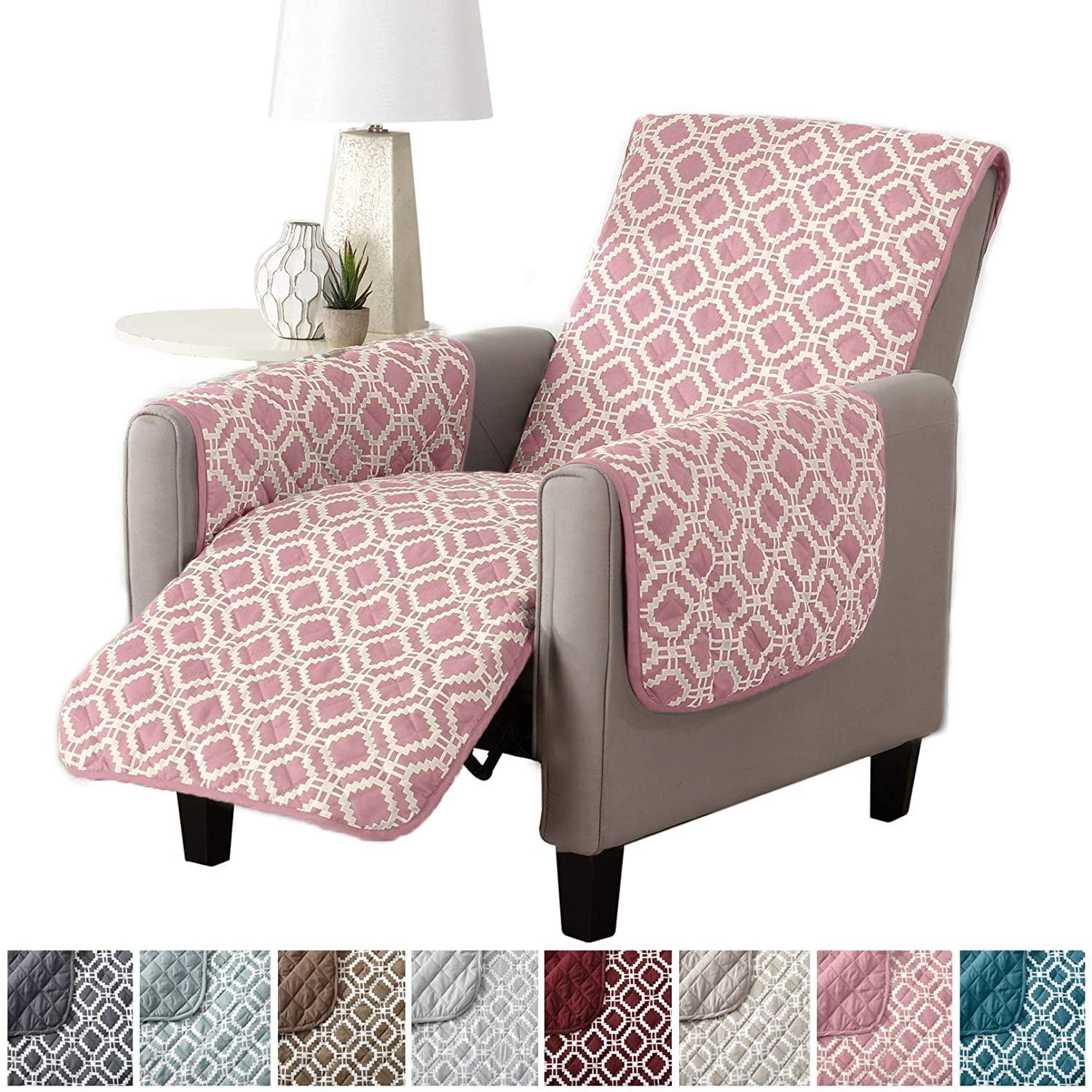 Modern Printed Reversible Stain Resistant Furniture Protector with Geometric Design. Perfect Cover for Pets and Kids. Adjustable Elastic Straps Included. Liliana Collection (Chair, Fossil Brown) Great Bay Home