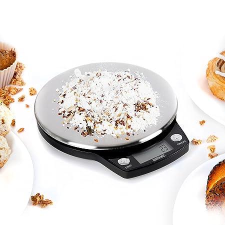 Duronic KS758 Báscula Digital para Cocina de Acero inoxidable - Balanza de Alimentos Multifuncional - Peso para Comida Compacto de 18 cm de Diámetro ...