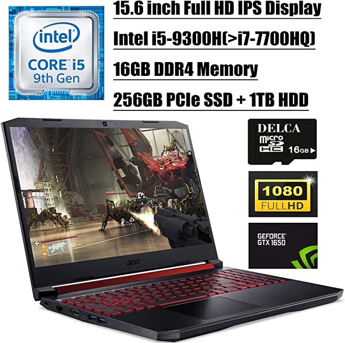 """Acer Nitro 5 15 2020 Newest Gaming Laptop I 15.6"""" FHD IPS I 9th Gen Intel Quad-Core i5-9300H(>i7-7700HQ) I 16GB DDR4 256GB PCIe SSD + 1TB HDD I 4GB GTX 1650 Backlit Win 10 + Delca 16GB Micro SD Card"""