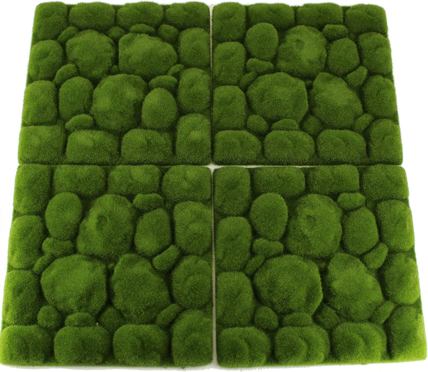 UNIQUE FOREST ARTS Artificial Moss Rocks Panel Decorative Faux Stones Moss mats for Plants Wall,Green Wall Decoration, Fairy Gardens, and Crafting 10 x 10 inch per Panel(Set of 4 pcs)