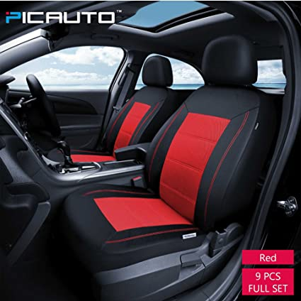 PIC AUTO Universal Fit Full Set Mesh And Leather Car Seat CoverRed