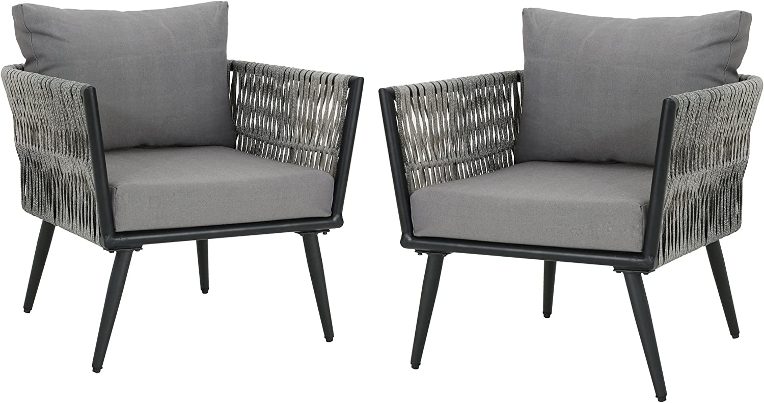 Christopher Knight Home 305397 Weber Outdoor Wicker Club Chairs Set of 2 , Light Dark Gray