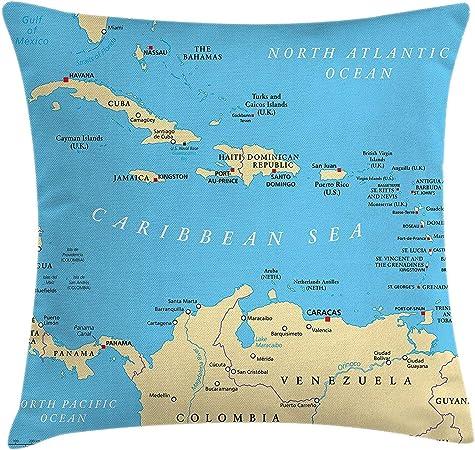 Wanderlust Throw Pillow Cushion Cover, Caribbean Political