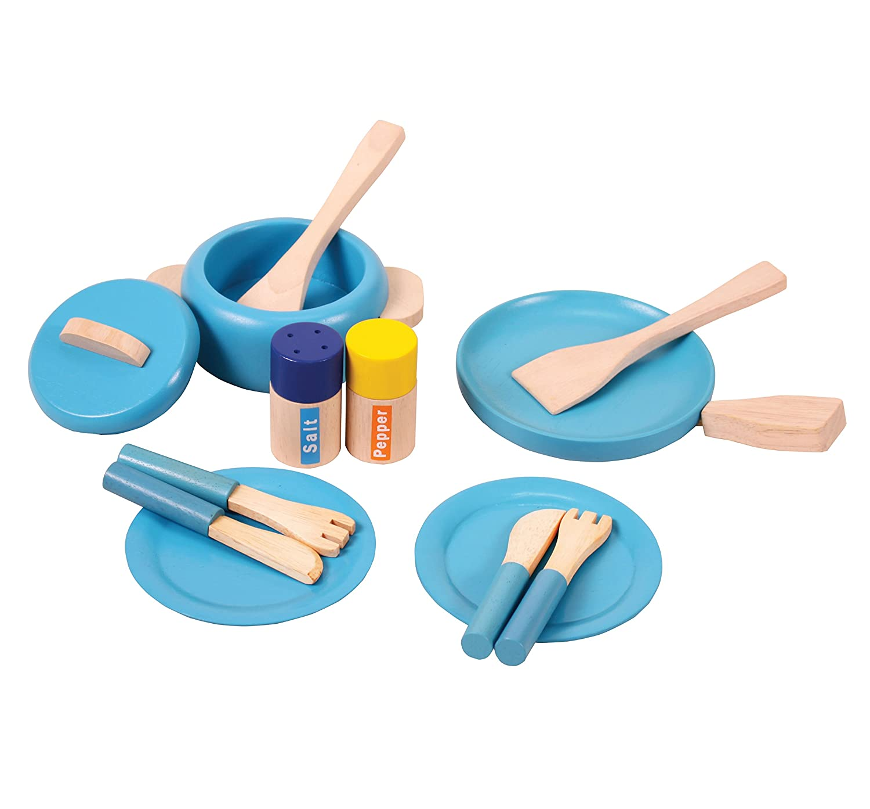 Blue Inspirational Nurseries 14044 Wooden Pots and Pans Set
