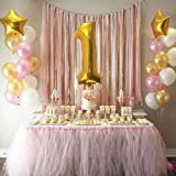 """First Birthday Baby Girl Balloons Decoration. 40"""" Number 1 Mylar Balloon & Two 18"""" Gold Star Mylar Balloons with 12"""" Helium Quality Pearl Latex Balloons White Gold and Pink- 39 Count."""