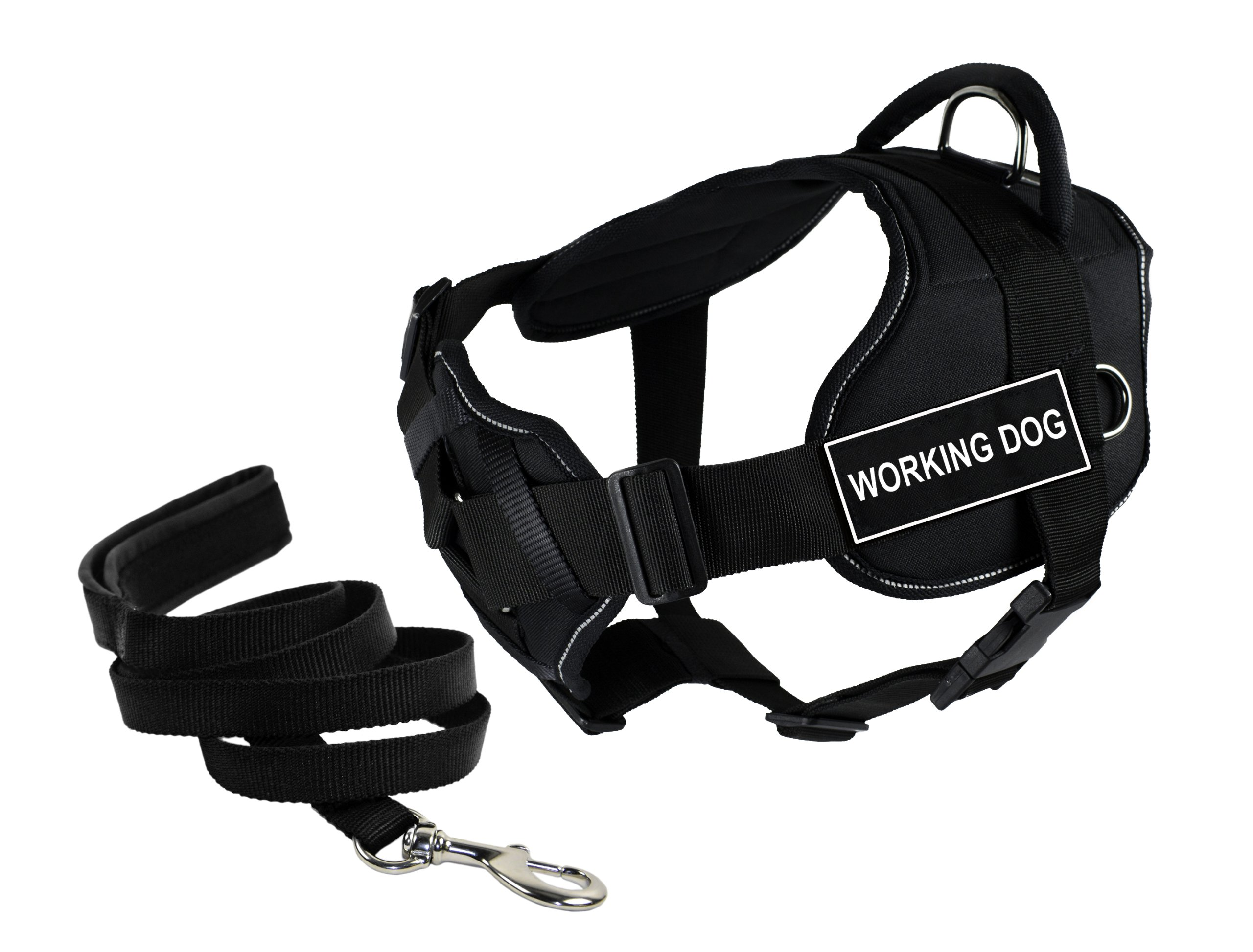 Dean & Tyler's DT Fun Chest Support ''WORKING DOG'' Harness with Reflective Trim, X-Large, and 6 ft Padded Puppy Leash.