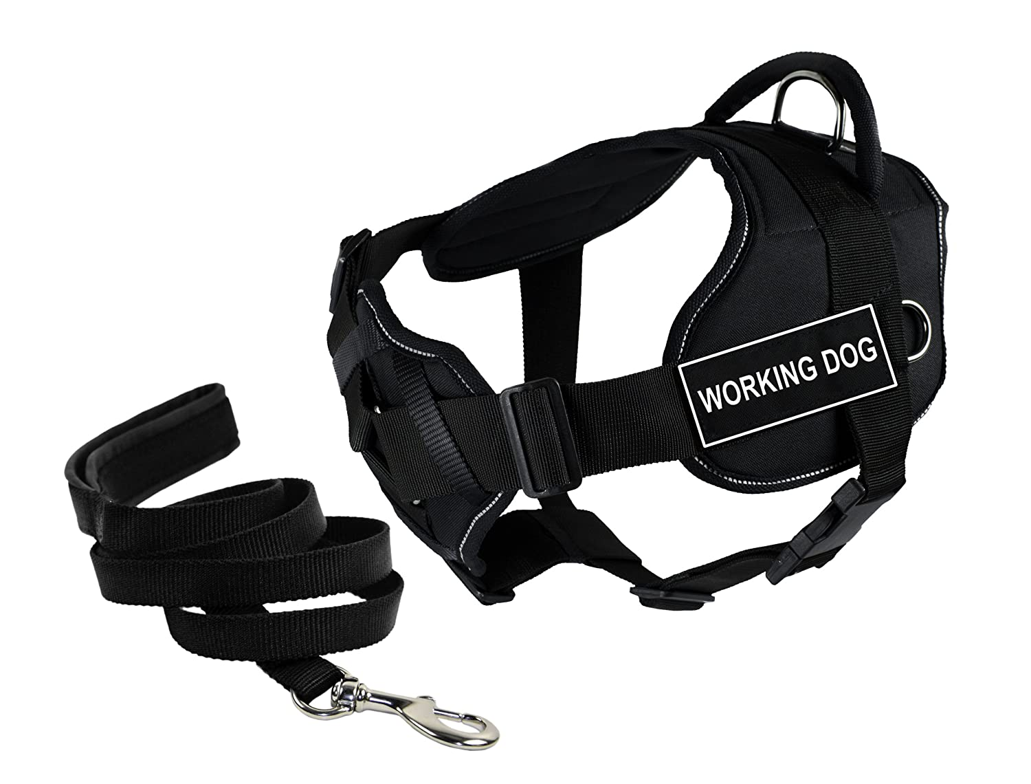 Dean & Tyler Bundle of 22 to 27-Inch DT Fun Harness with Chest Support and 6-Feet Stainless Snap Padded Puppy Leash, Working Dog, Black with Reflective Trim