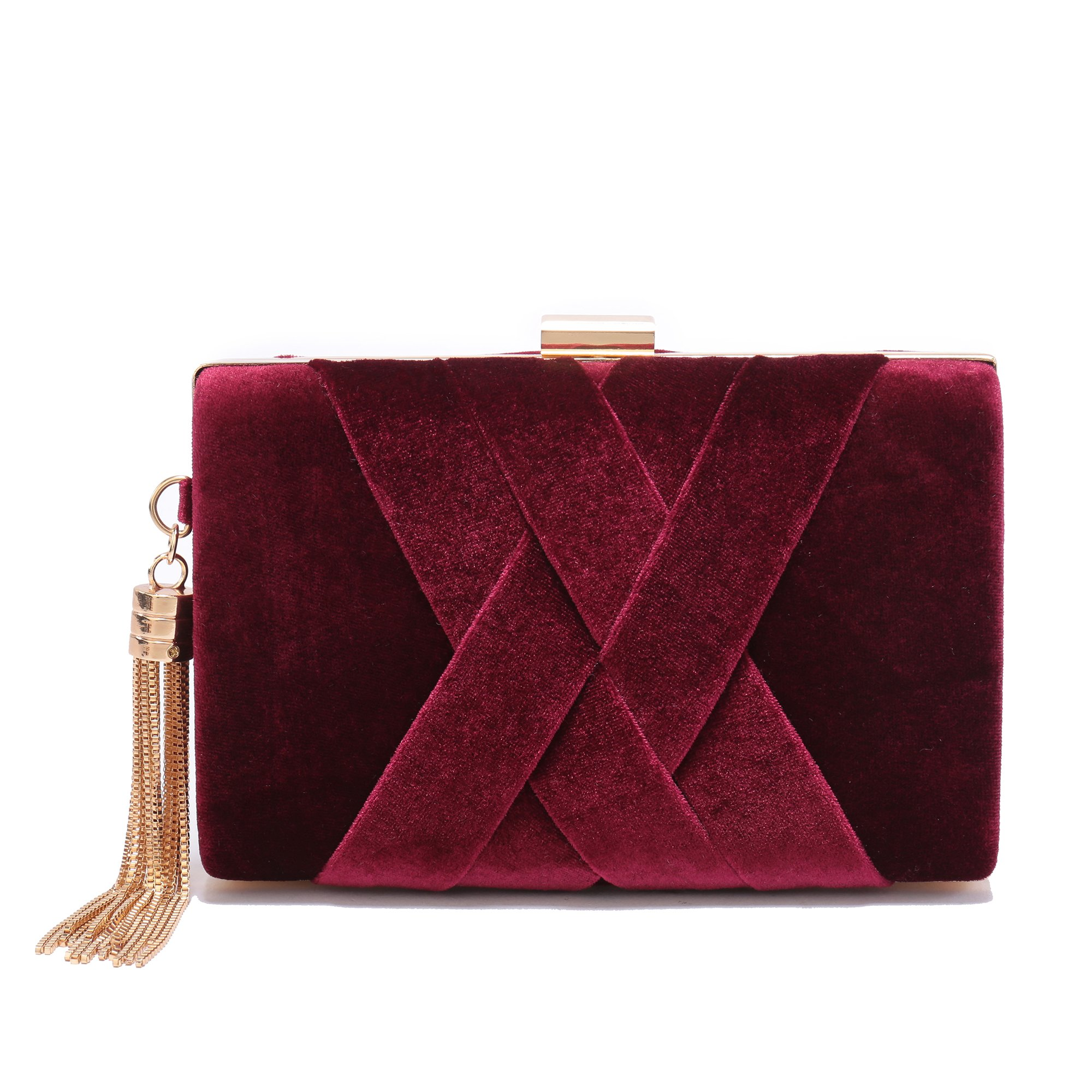 Women's Evening Clutch Bag Stain Fabric Bridal Purse For Wedding Prom Night Out Party Maroon