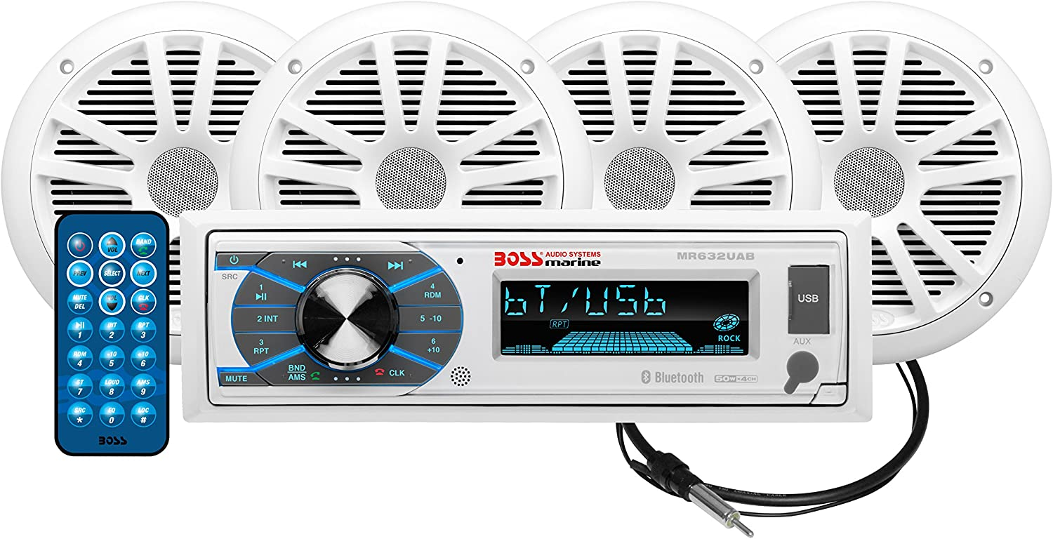 BOSS Audio Systems MCK632WB.64 Marine Stereo Package - Bluetooth, - - no CD DVD MP3 USB WMA AM FM Radio, 6.5 Inch Speakers, Antenna, Weatherproof