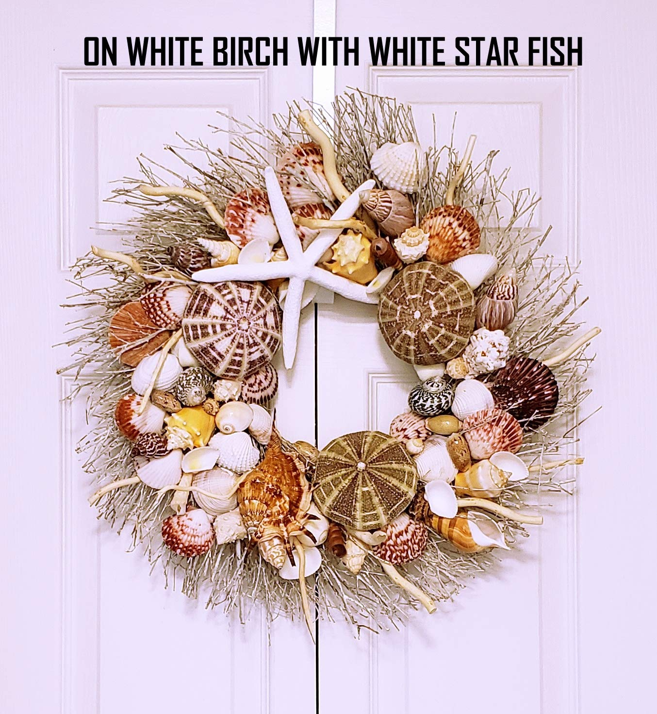 21'' Sea Shell Wreath on Birch Twig with Exotic Sea Urchins in 4 Designs by Ellie's Collections, Etc. (Image #4)