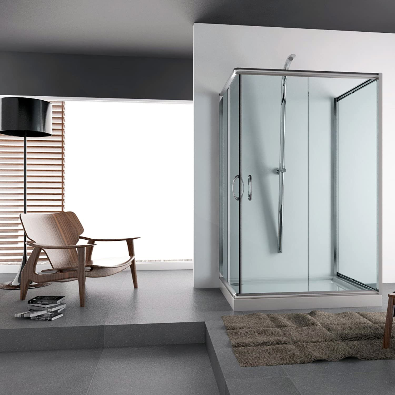 Entrada por la esquina cabina de ducha 70 x 70 H185 cristal modelo Alabama Trio: Amazon.es: Hogar