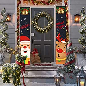 GAYISIC Christmas Banners Outdoor Decorations Welcome Merry Christmas Porch Sign Hanging Banner for Front Door Indoor Home Wall Hanging Decor Party