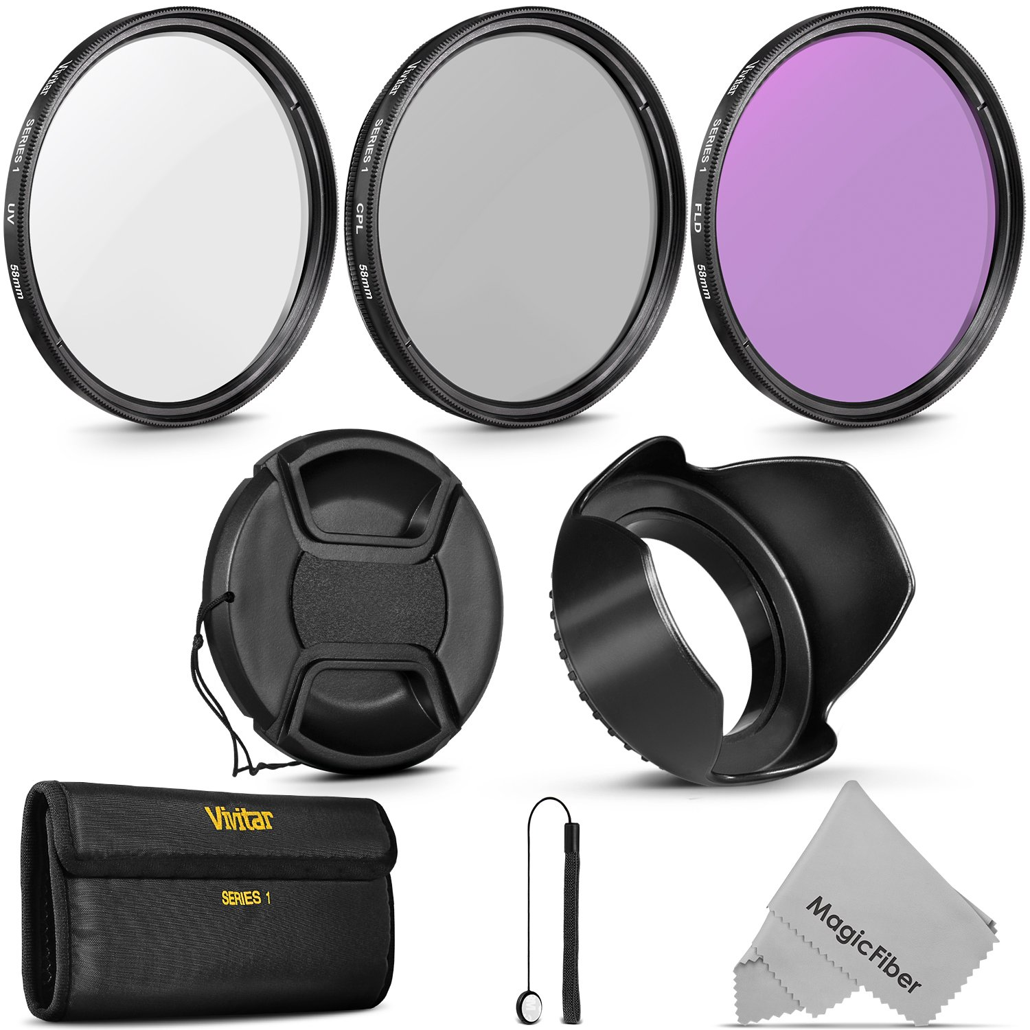 58MM Professional Lens Filter Accessory Kit (Vivitar Filter Kit (UV, CPL, FLD) + Carry Pouch + Tulip Lens Hood + Snap-On Lens Cap w/ Cap Keeper Leash + MagicFiber Microfiber Lens Cleaning Cloth) by Goja