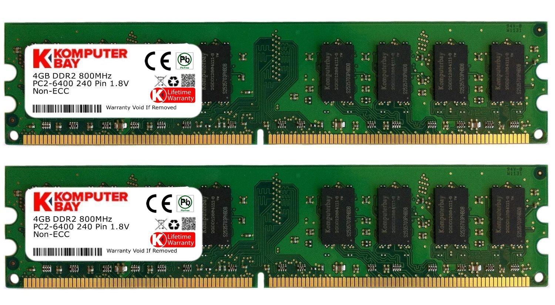 Memoria Ram 8gb Komputerbay ( 2 X 4gb ) Ddr2 Dimm (240 Pin) 800mhz Pc2 6400 Pc2 6300 8 Gb - Cl 5