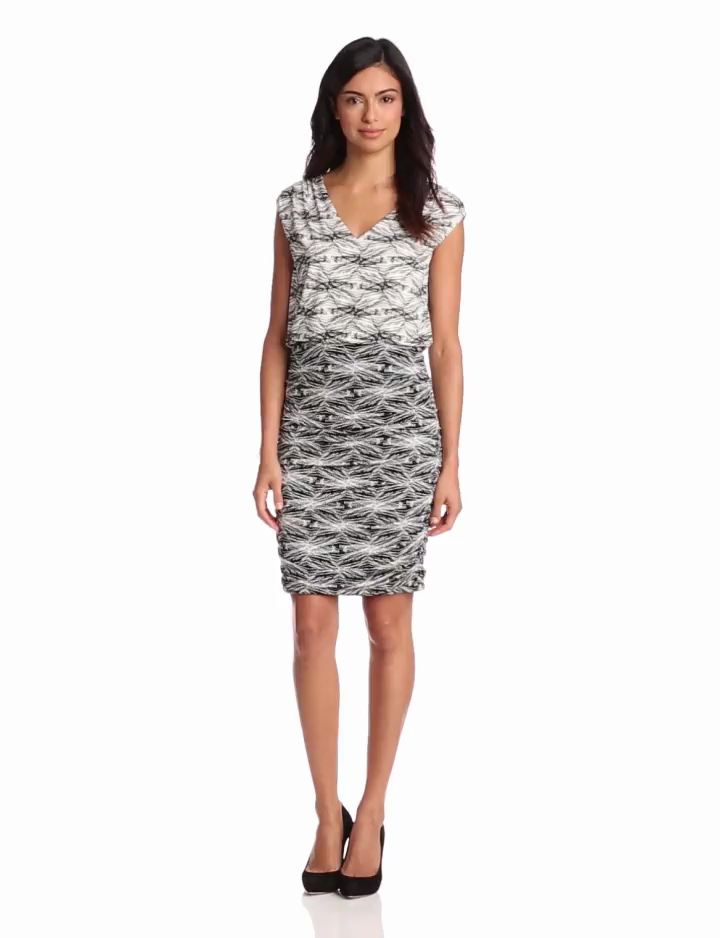 Adrianna Papell Womens Rouched Printed Jersey Dress