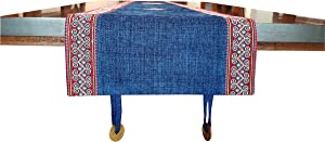 Himalayan Gateway Table Runner in Traditional Vietnamese Hmong Design Blue-red