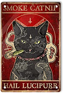 Ovonetune Cat Smoke Catnip Hail Lucipurr Poster Vintage Tin Signs, Retro Lightweight Aluminum Sign Wall Art Decor Funny Gifts Poster for Men Cave Home Bar Cafes Pubs, 12x8 Inches