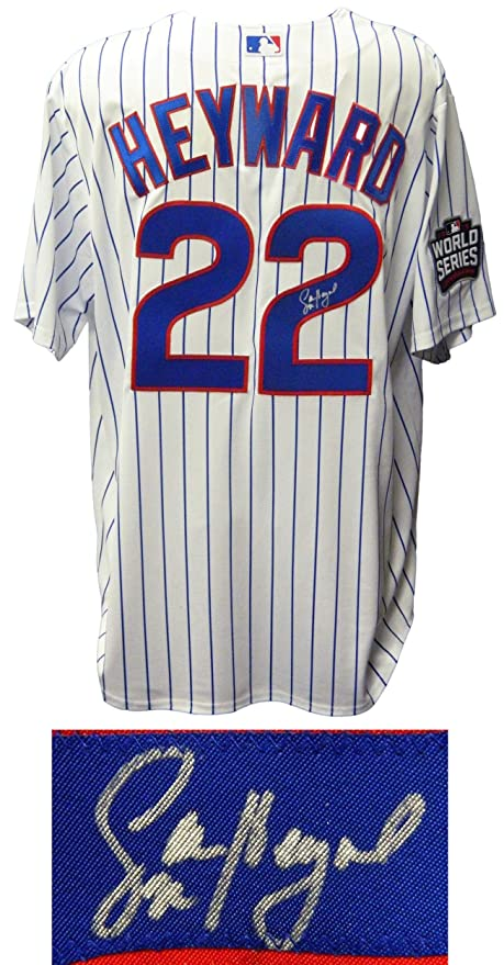 f7375429501 Autographed Jason Heyward Jersey - White Pinstripe 2016 World Series Patch  Majestic - Autographed MLB Jerseys