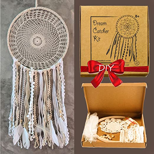 Creative Activity Set for Kids Pack of 2 Mandala Life ART DIY Unicorn Colorful Dream Catcher Kit 6x20 inches Make Your Own Bohemian Wall Hanging with All-Natural Materials