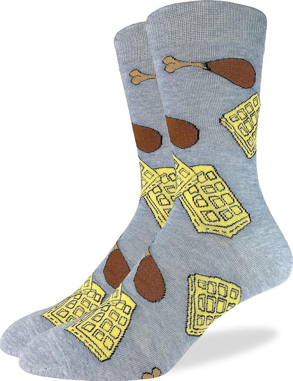 Good Luck Sock Men's Chicken & Waffles Crew Socks - Grey, Shoe Size 7-12 1324