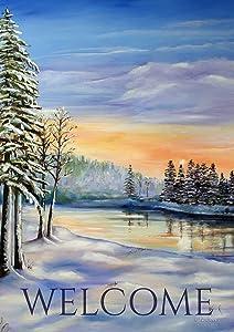 Toland Home Garden Winter River Welcome 12.5 x 18 Inch Decorative Snowy Ourdoor Forest Garden Flag - 1112076