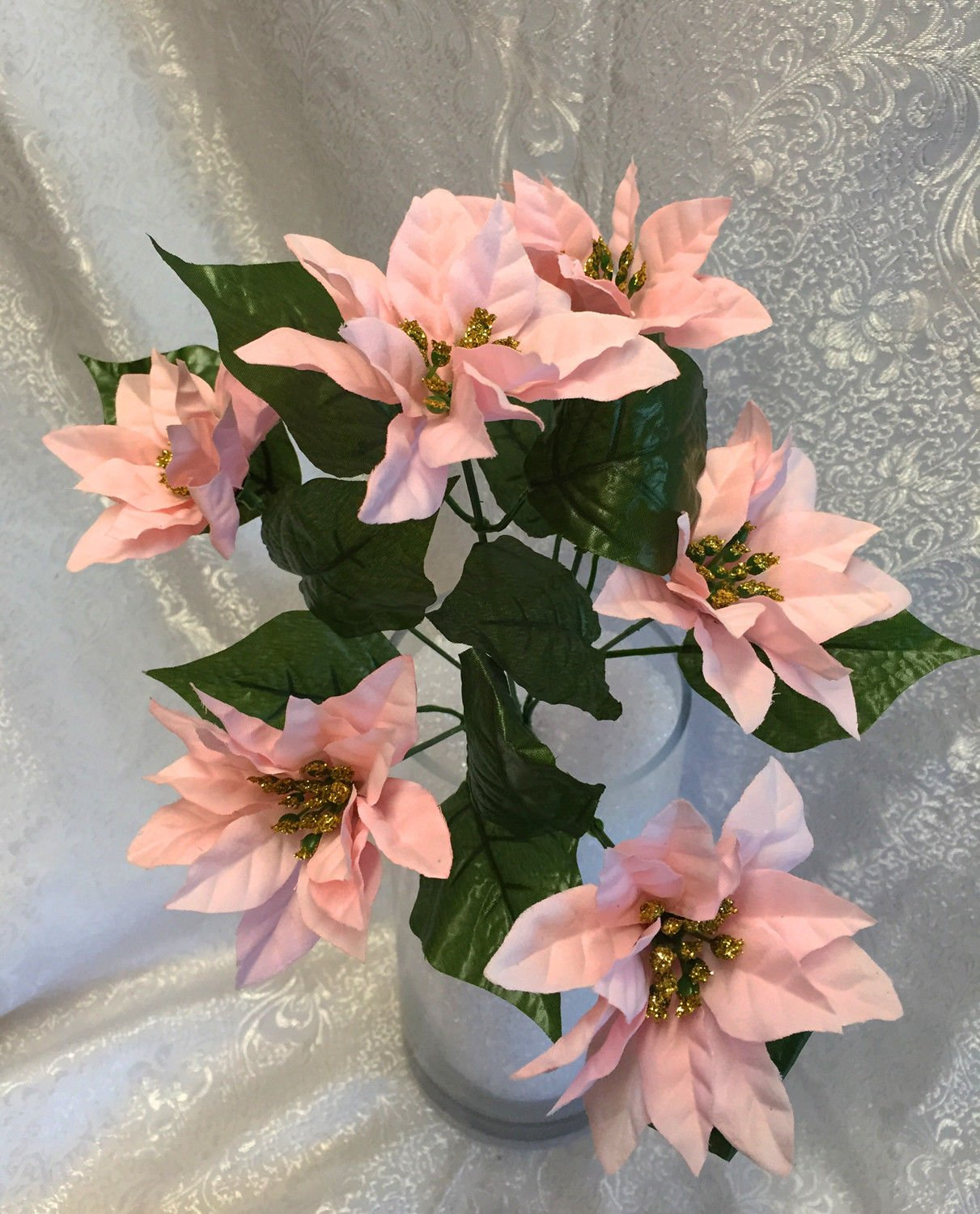 1-Bouquet-of-6-Mini-Pink-Poinsettias-Silk-Wedding-Decoration-Flowers-Artificial-Arrangement-Centerpiece-Bouquet-Christmas-Bush