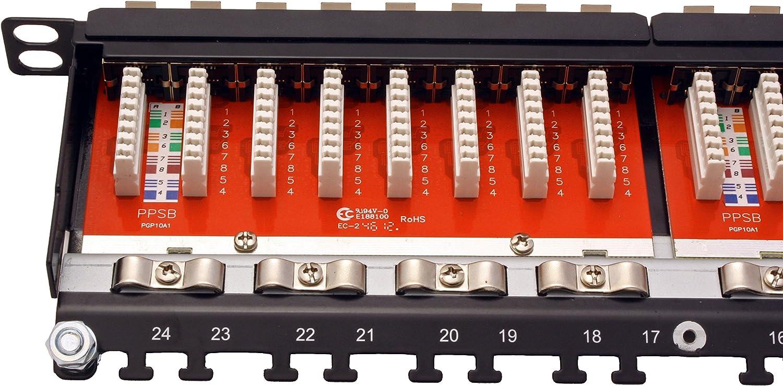 Black Roline 19 inch 0.5U Cat6 STP Patch Panel