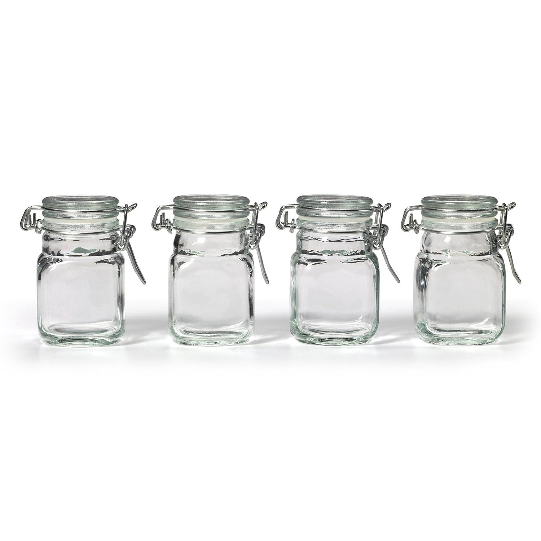 amazoncom kamenstein square glass jar with hinge glass lid 4 piece set mixed drinkware sets