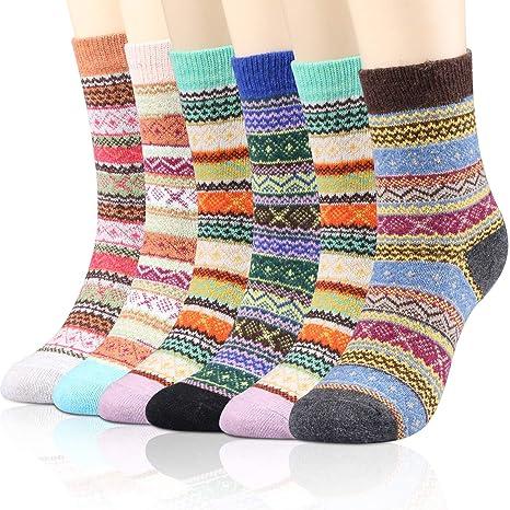 WOSTOO Calcetines de Lana, 6 Pares Calcetines de algodón Coloridos de Navidad, Calcetines de