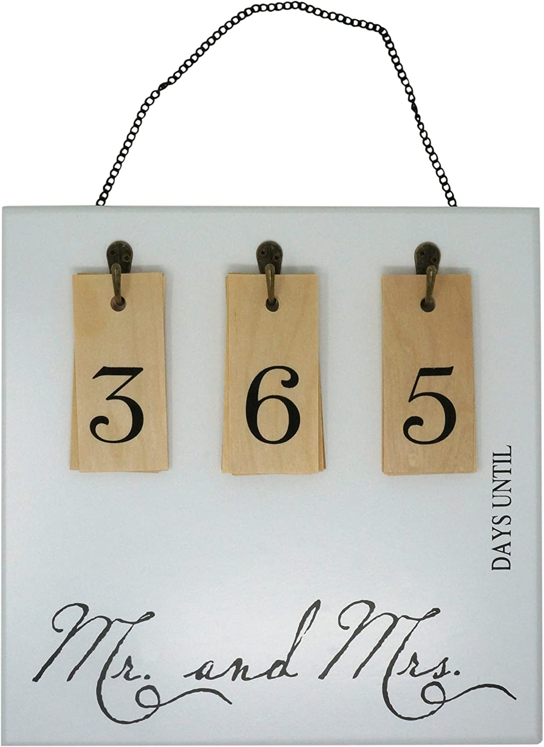 Rubies & Ribbons Mr and Mrs Hanging Wedding Countdown Calendar Wall Sign with Removable Numbers