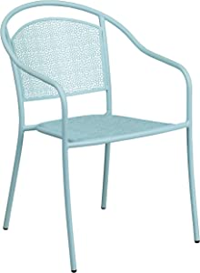 Flash Furniture Commercial Grade Sky Blue Indoor-Outdoor Steel Patio Arm Chair with Round Back