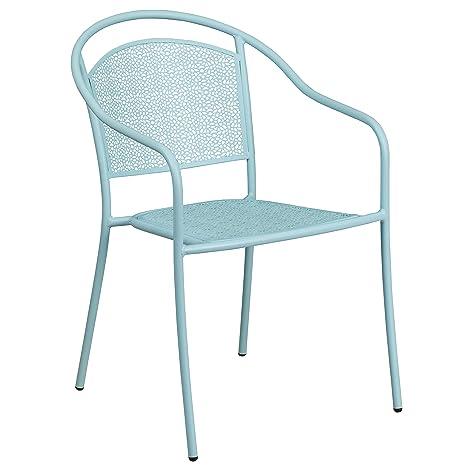 Strange Flash Furniture Sky Blue Indoor Outdoor Steel Patio Arm Chair With Round Back Uwap Interior Chair Design Uwaporg