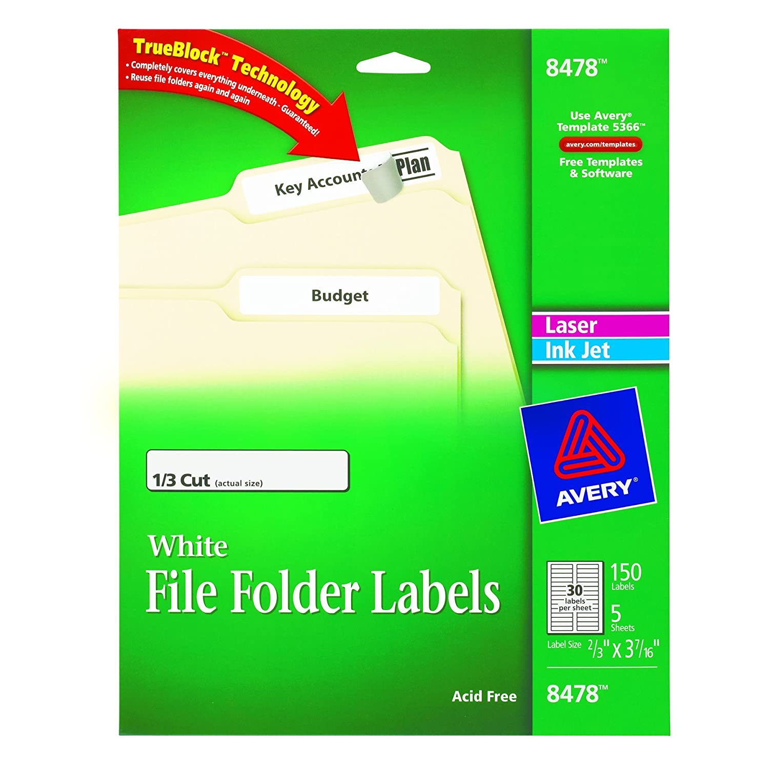 Amazon.com : Avery File Folder Labels for Laser and Inkjet Printers ...