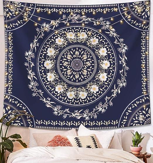 Amazon Com Lifeel Blue Bohemian Tapestry Wall Hanging Mandala