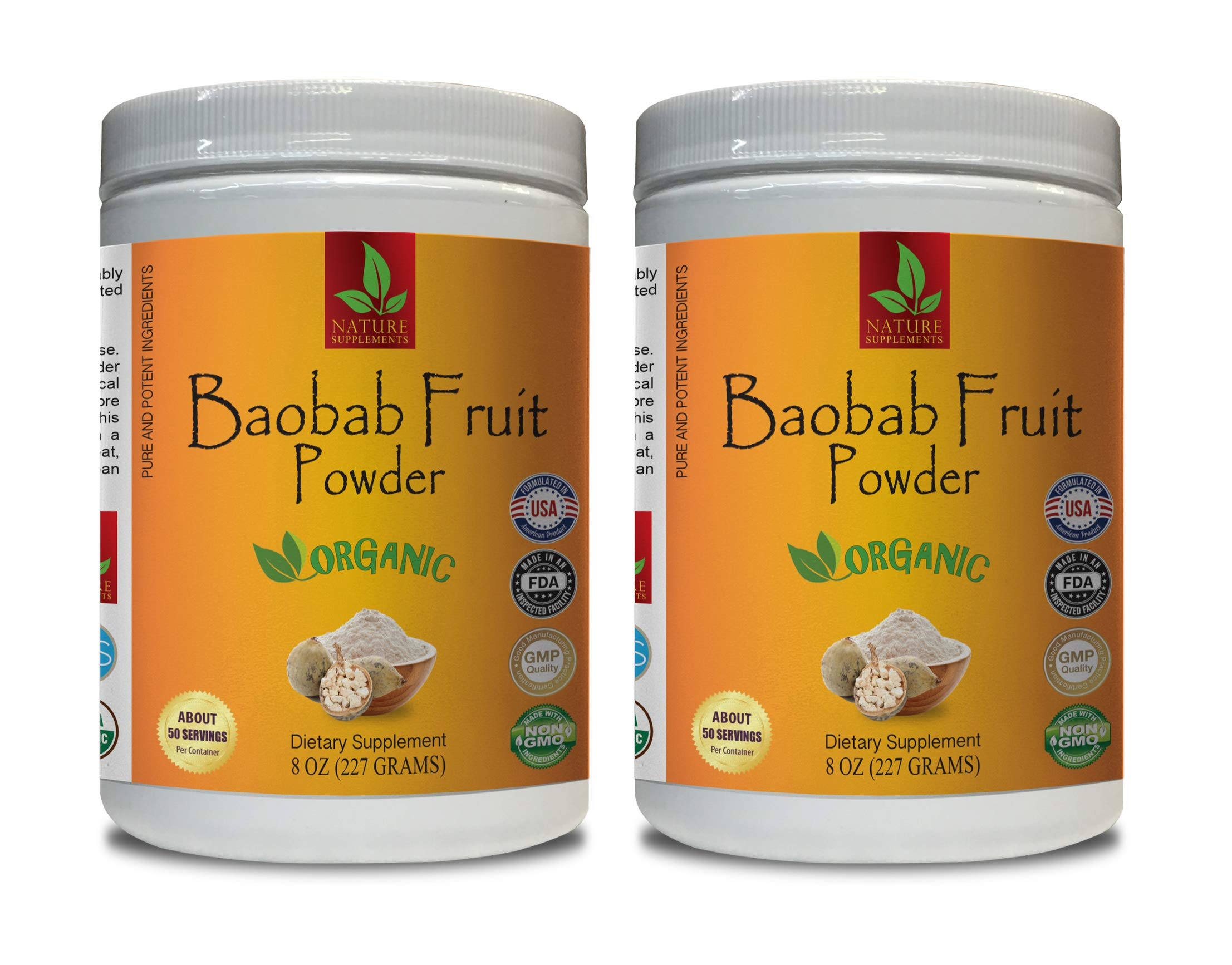 Immune Support Vitamins - Baobab Fruit Organic Powder - Pure and Potent Ingredients - Baobab Fruit Extract - 2 Cans 16 OZ (100 Servings)
