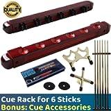 BETTERLINE Billiard Wooden Cue Rack for 6 Pool Sticks, Cue Bridge Spider Head, Cue Cross X Rest, Cue Accessories, 5 Cue…