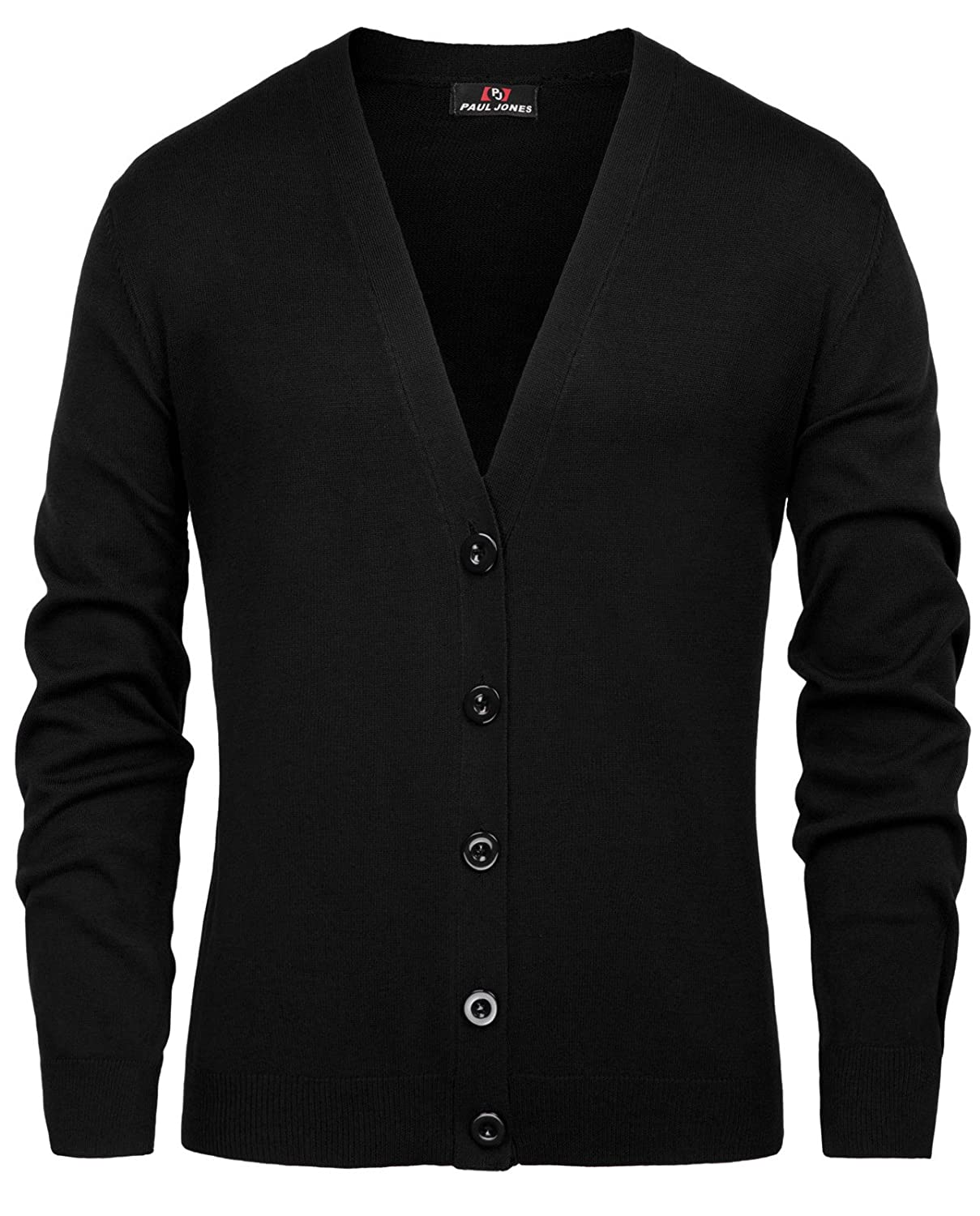 PAUL JONES Men's Stylish V-Neck Button Placket Cardigan Sweater with Ribbing Edge