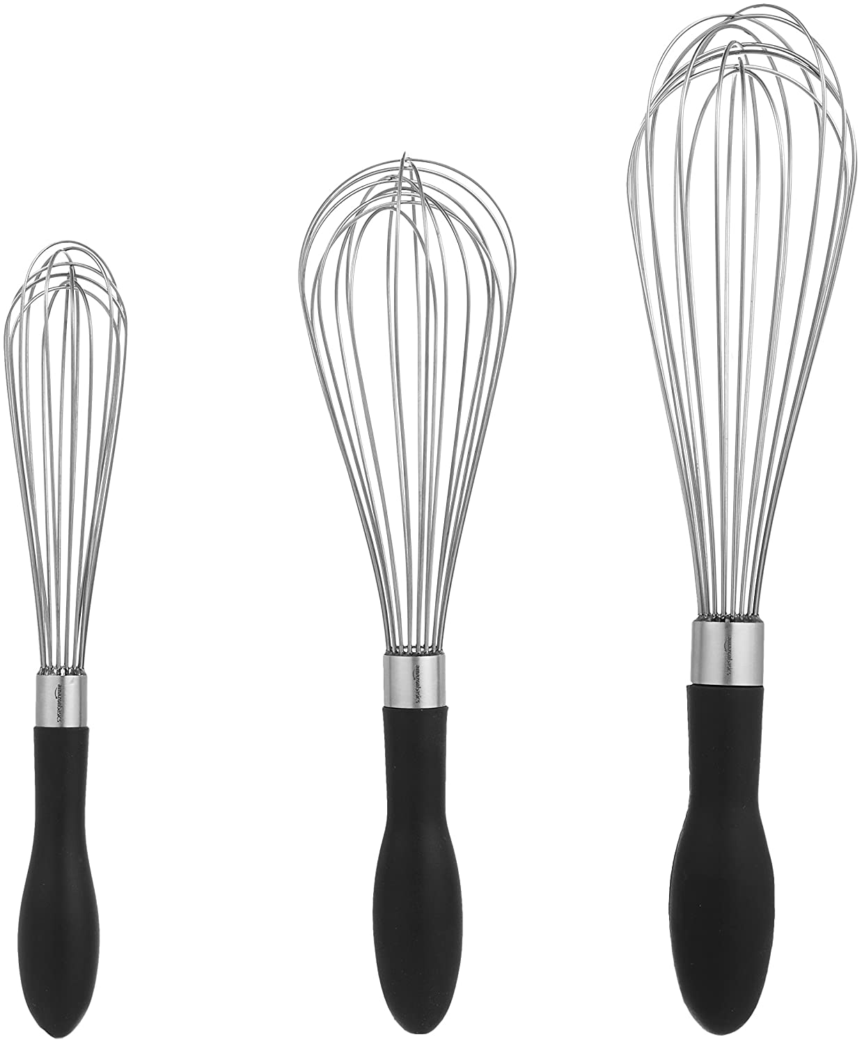AmazonBasics Stainless Steel Wire Whisk Set - 3-Piece 199