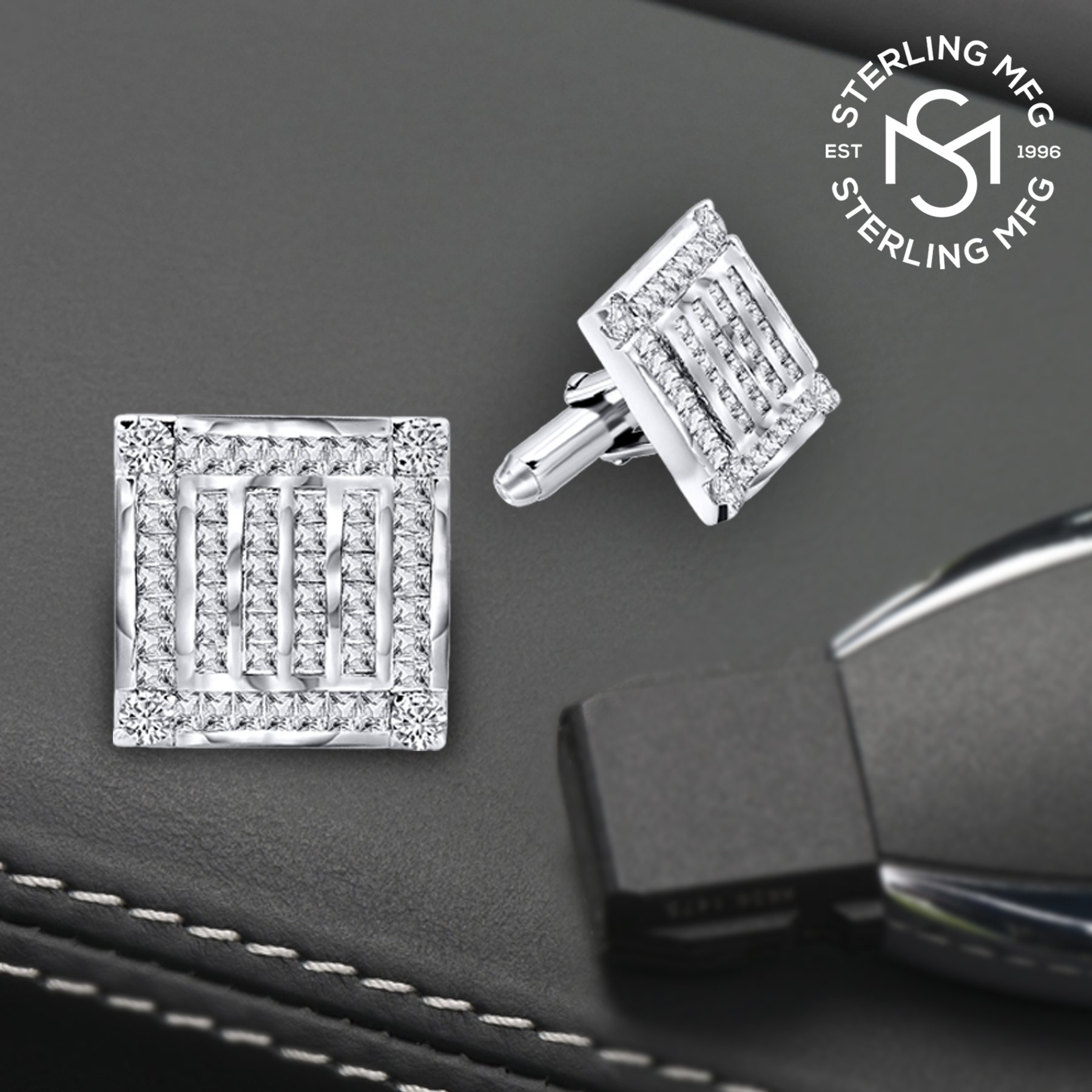 Men's Sterling Silver .925 Square Cufflinks with Channel-Set Baguette and Princess-Cut Cubic Zirconia Stones, Platinum Plated. 18.5 mm. By Sterling Manufacturers by Sterling Manufacturers (Image #4)