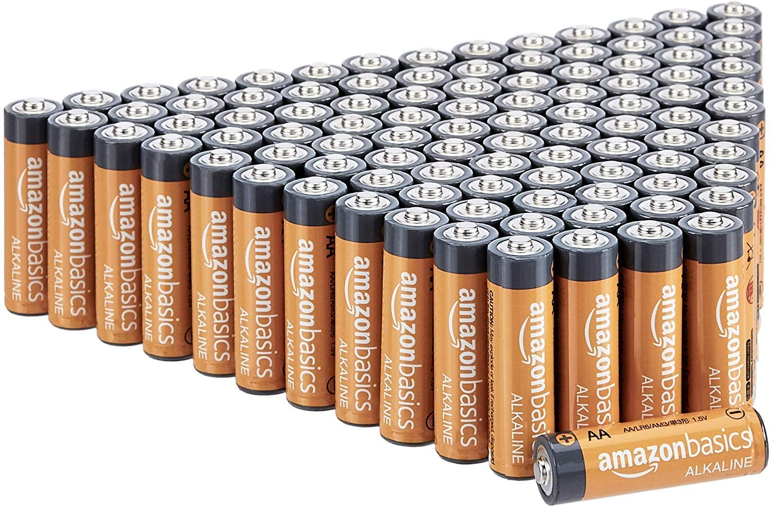 Basics 100 Pack AA High-Performance Alkaline Batteries, 10-Year Shelf Life, Easy to Open Value Pack: Health & Personal Care