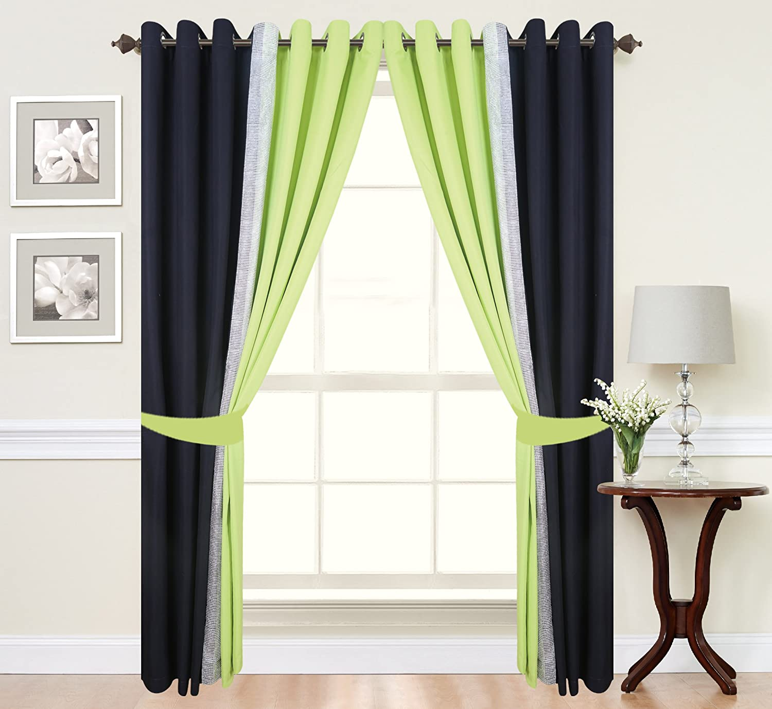 DIAMANTE PAIR OF 2 TONE FULLY LINED EYELET RINGTOP CURTAINS IN LIME GREEN/BLACK HEAVY DUTY 140GSM (66