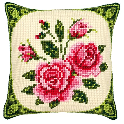Amazon.com: Vervaco Pink Roses Cross Stitch Cushion, Multi ...