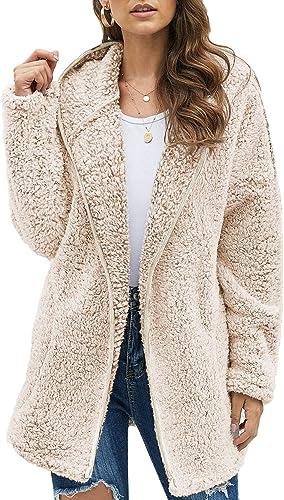 Actloe 2020 Women Open Front Hooded Long Sleeve Cardigan Fleece Outwear with Pocket