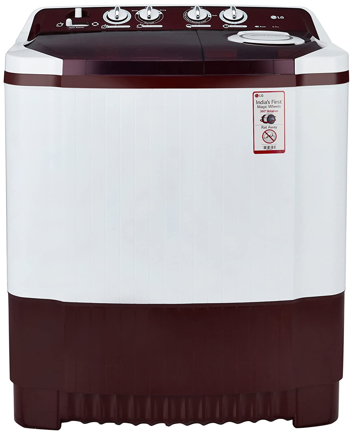 LG 8.0 kg Semi-Automatic Top Loading Washing Machine (P9042R3SM, Burgundy)