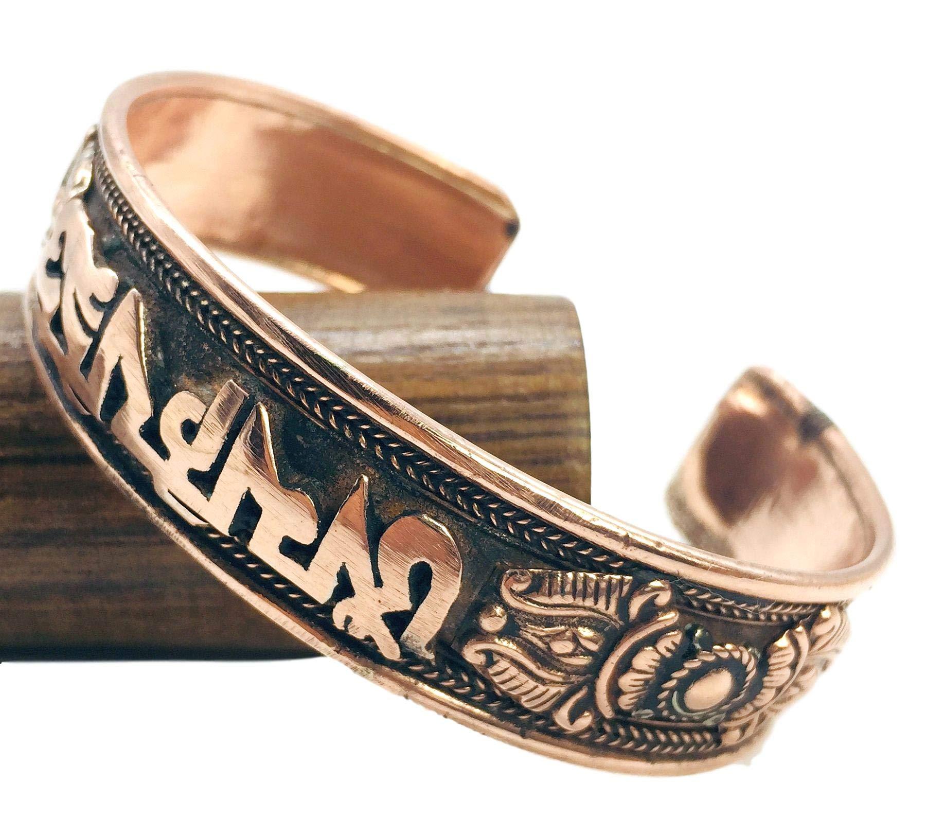 100% Pure Copper Tibetan Healing Bracelet. Unisex, Hand Made High Gauge Copper (Mantra)